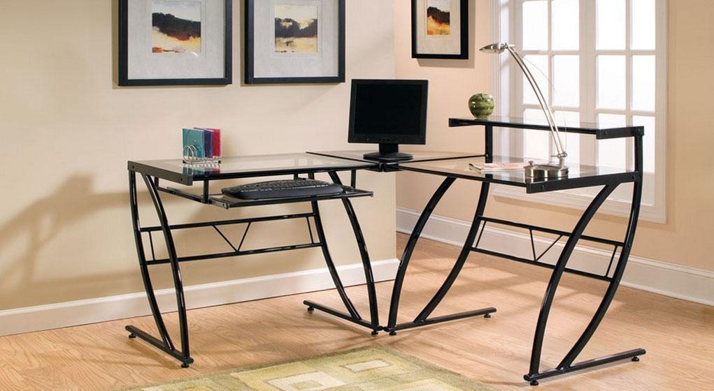 zline belaire glass lshaped computer desk - Glass L Shaped Desk