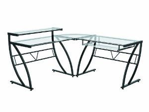 Z-Line Belaire Glass L-Shaped Computer Desks