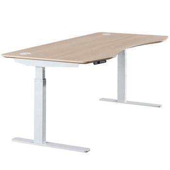 ApexDesk Elite Series Electric Height Adjustable Standing Office Desk with Light Oak Top