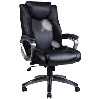 REFICCER Bonded Leather Office Chair Adjustable Built in Lumbar Support and Tilt Angle